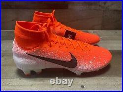 Men's Nike Mercurial Superfly 6 Elite FG White Orange Soccer AH7365-802 Size 10