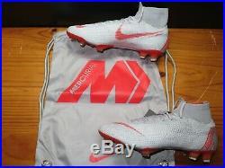 Nike Mercurial Superfly 6 Elite FG Soccer Cleat Grey Crimson AH7365 060 Mens