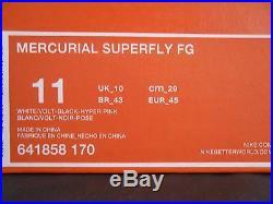 Nike Mercurial Superfly Fg White-volt-black-hyper Pink Sz 11 641858-170