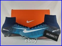 Nike Mercurial Superfly V 5 DF FG Soccer Cleats Obsidian Blue White 831940-414